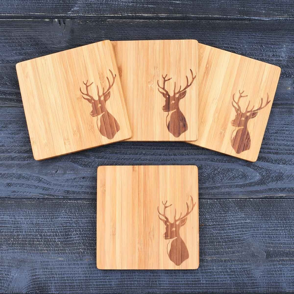 bamboo wooden coasters with stags head print