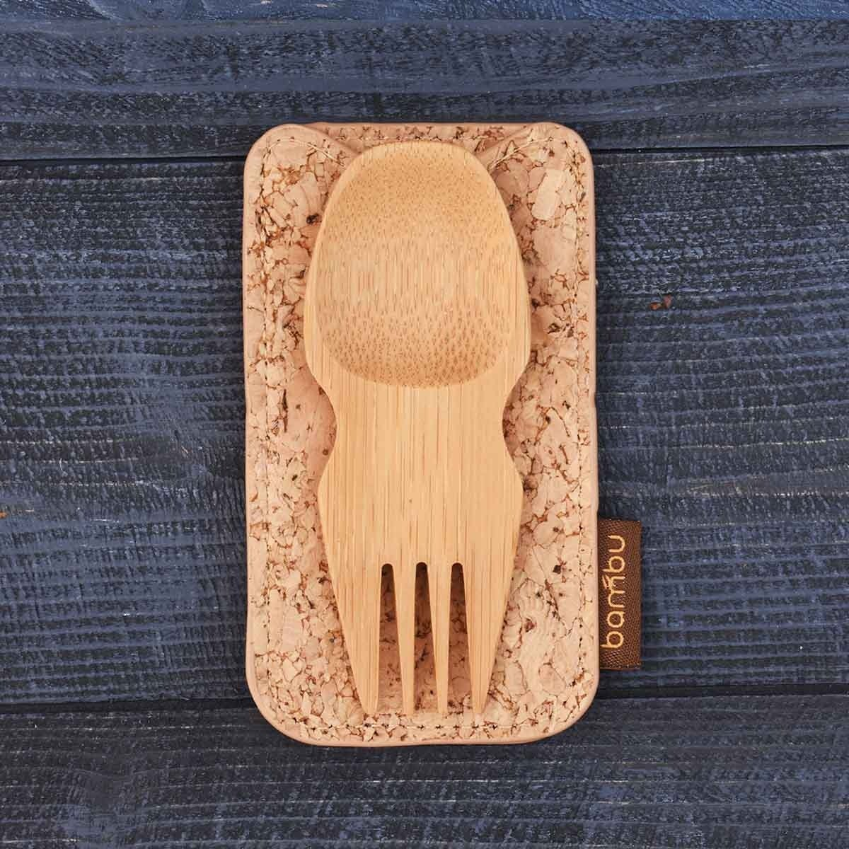bamboo spork and cork travel set