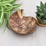 coconut shell soap dish leaf design