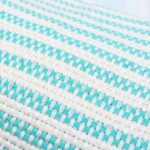 mint green chunky weave turkish towel close up