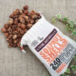 soap nuts bag with soap nut spilling out