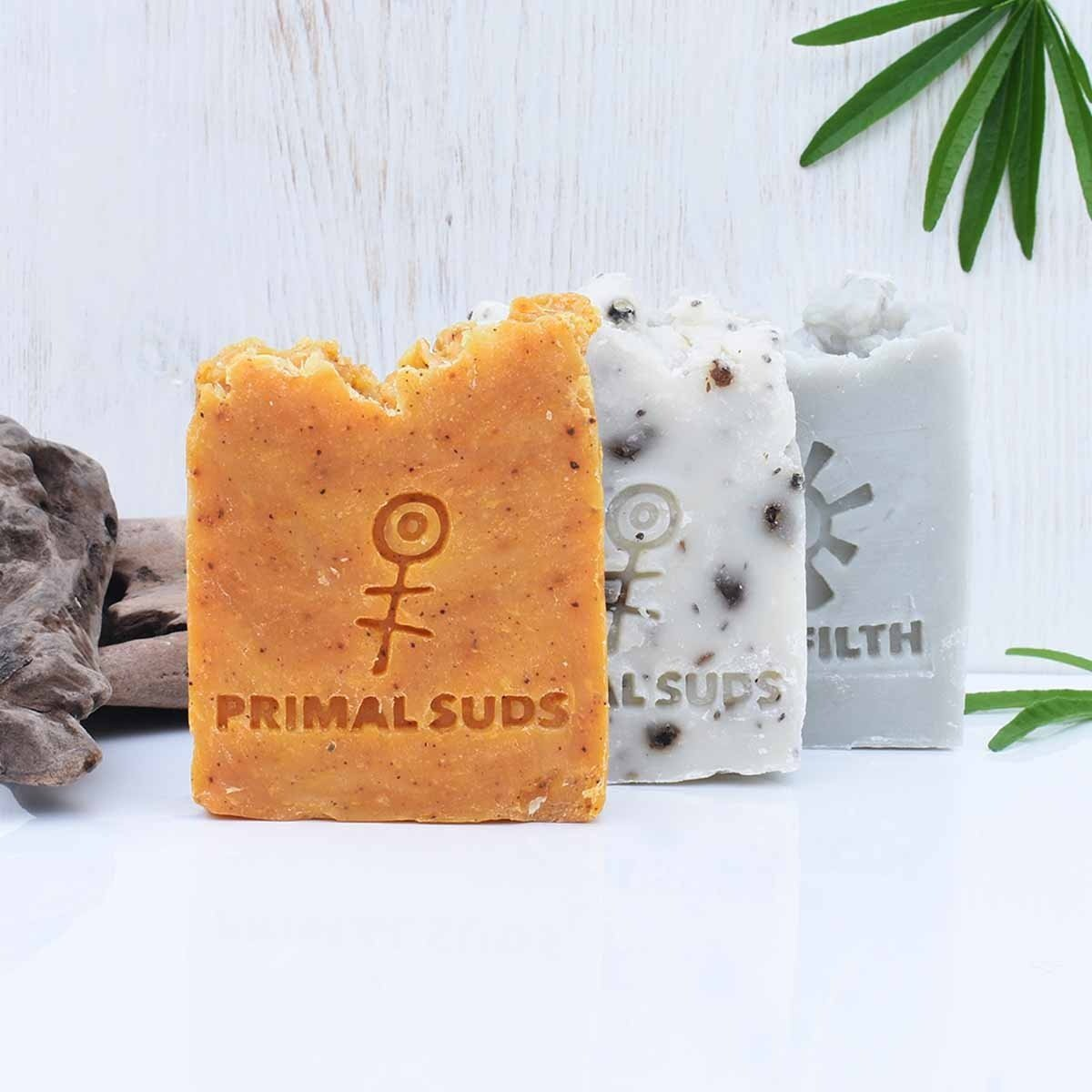 vegan soap bars collection primal suds background