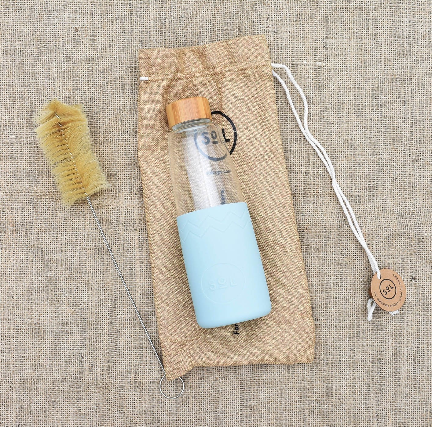 glass water bottle sol with hessian travel bag and bottle cleaning brush