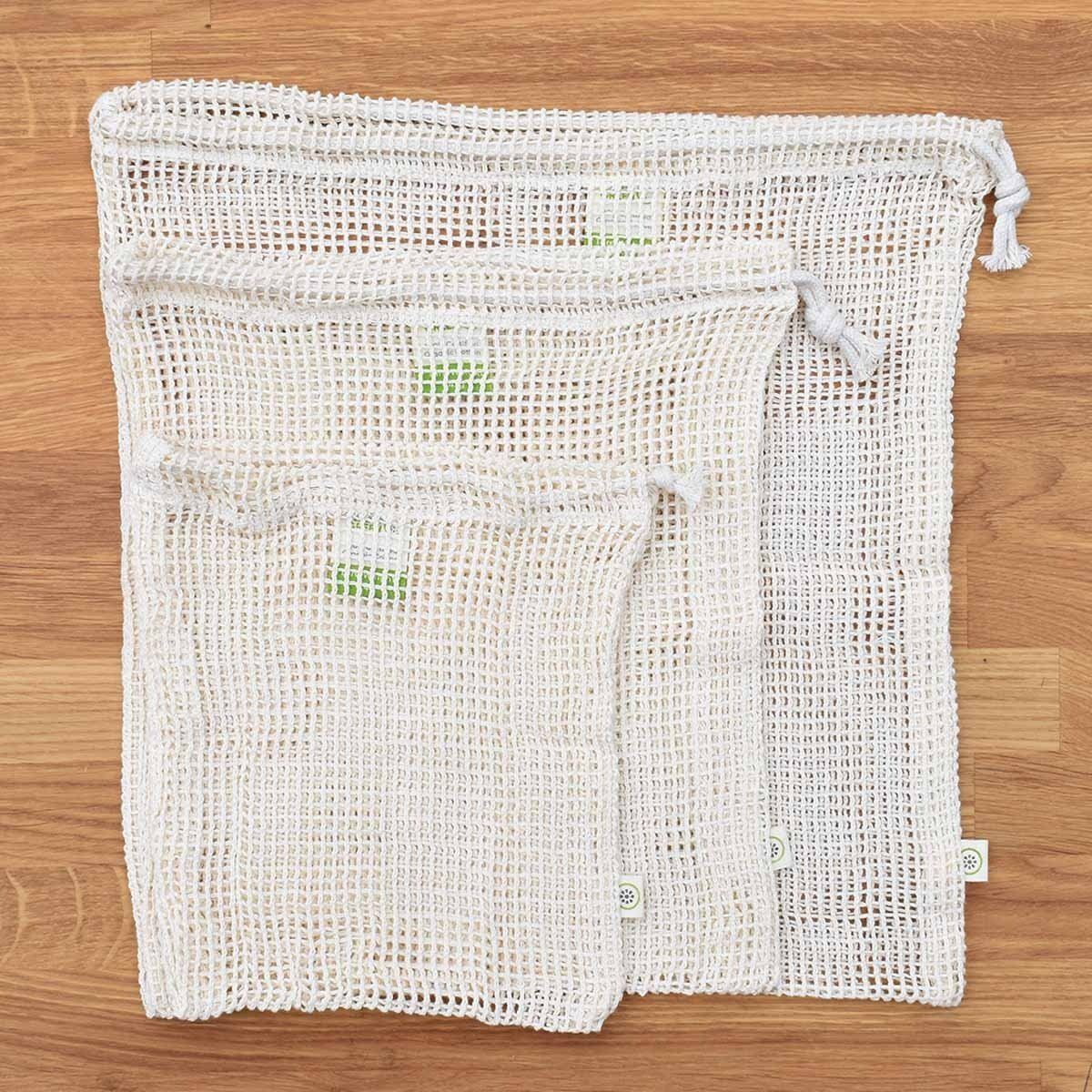 organic cotton net produce bags 3 set a slice of green