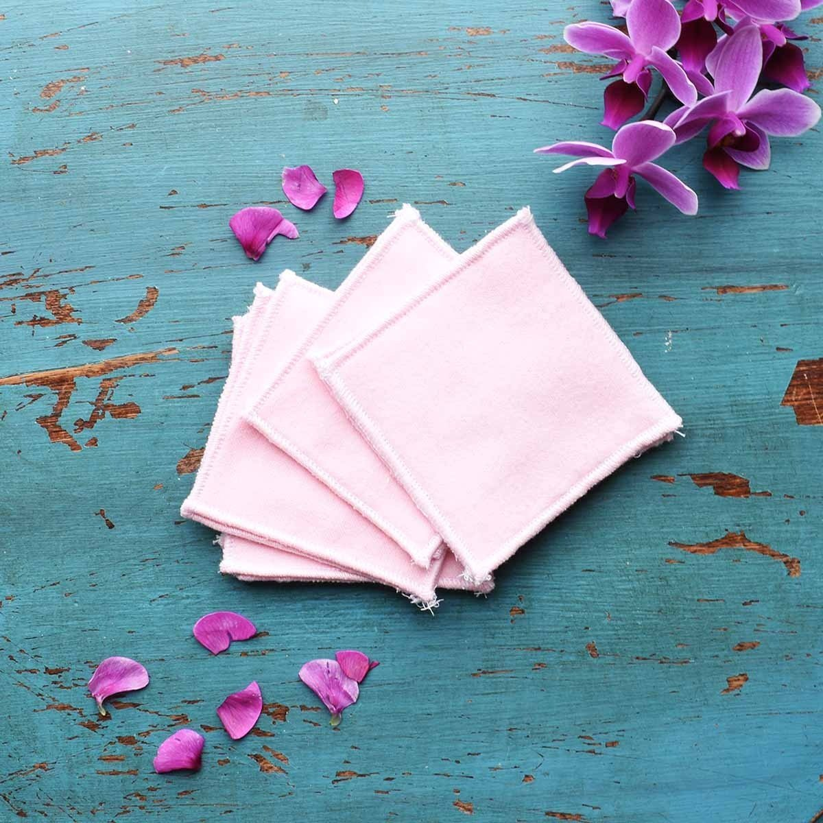 reusable facial wipes rounds pink social laid