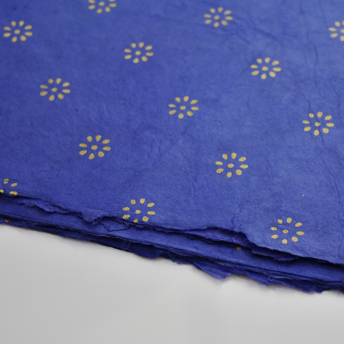 biodegradable wrapping paper lokta flower blue