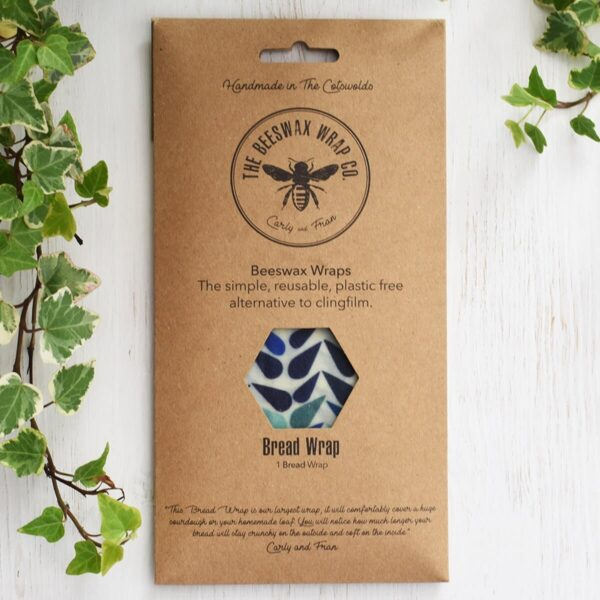 bread pack beeswax wrap blue drops