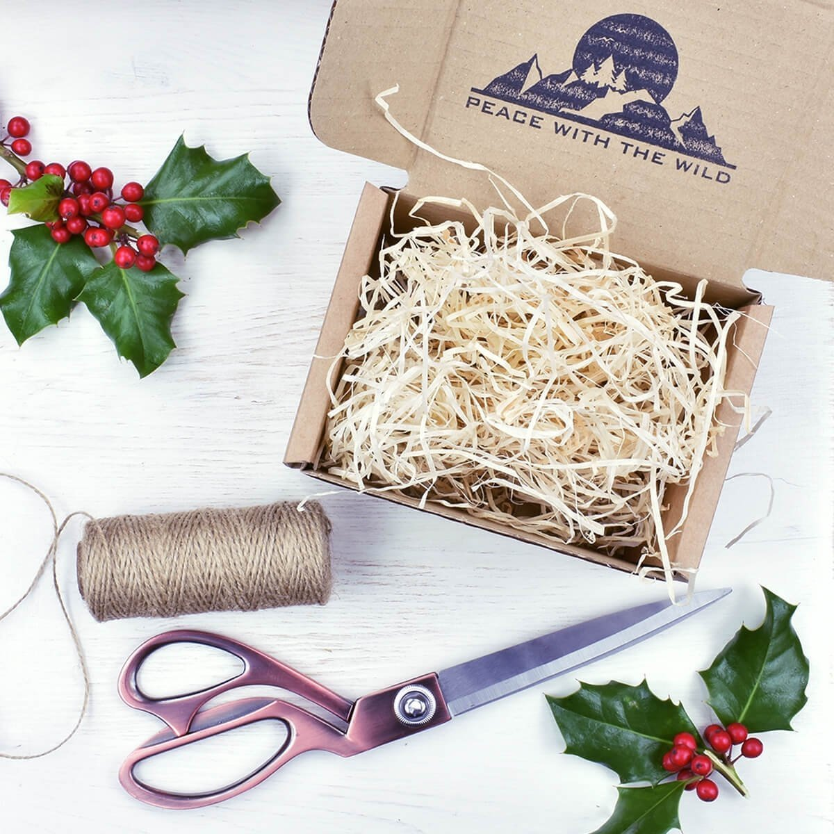 Christmas gift wrapping peace with the wild cardboard gift box