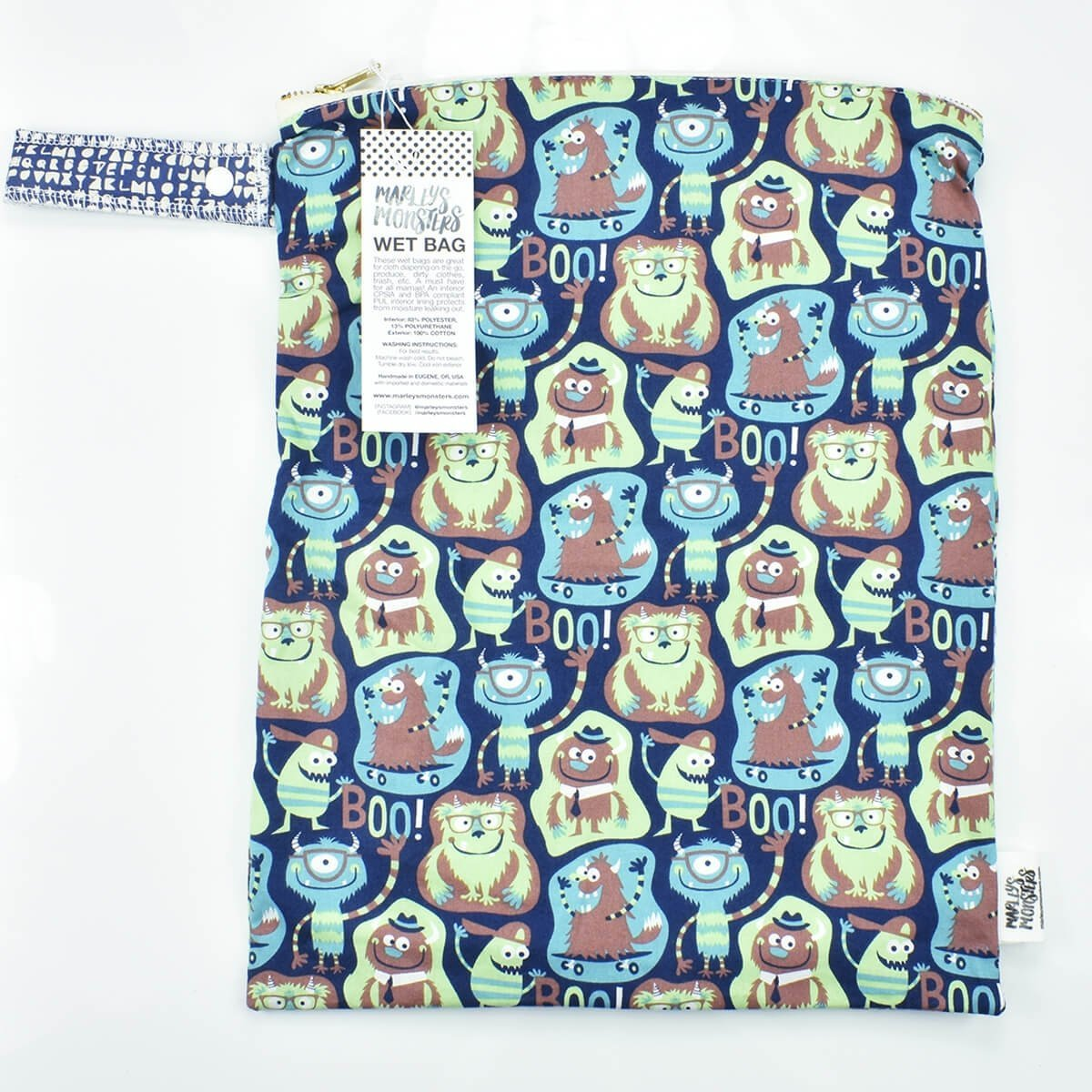 large wet bag marleys monsters boo print
