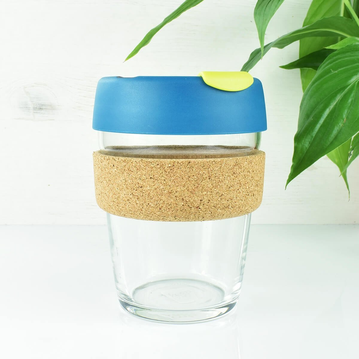 reusable glass coffee keepcup blue 12oz