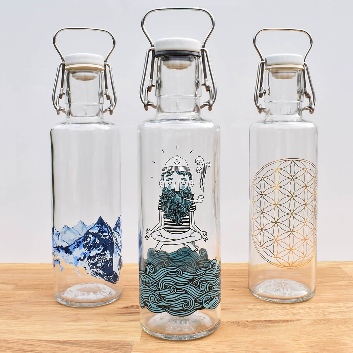 collection 3 soul glass water bottle 0.6l