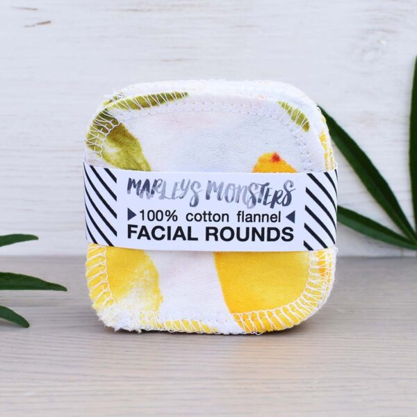 Marleys Monsters Lemon Print Cotton Facial Rounds in Packaging