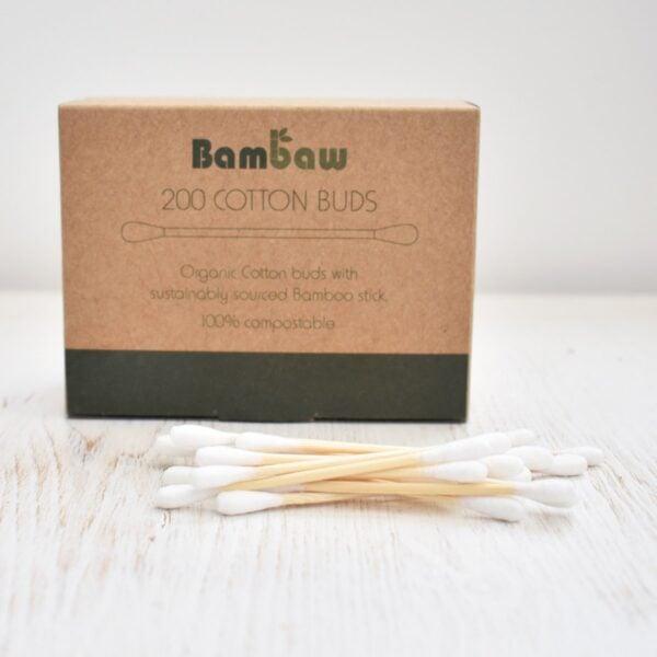 bambaw, Bamboo Cotton Buds, cotton buds, cotton swabs, plastic-free, bio-degradable, vegan friendly, pack of 200,