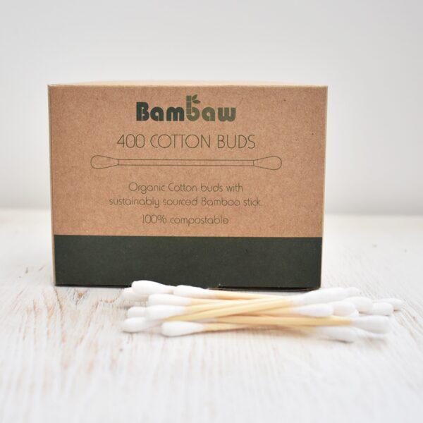 bambaw, Bamboo Cotton Buds, cotton buds, cotton swabs, plastic-free, bio-degradable, vegan friendly, pack of 400,