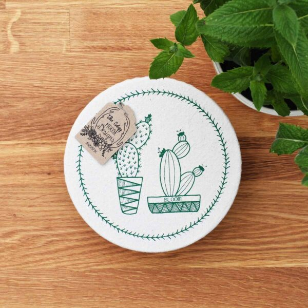 Your Green Kitchen Edgy Moose Cotton Bowl Cover Cactus Small