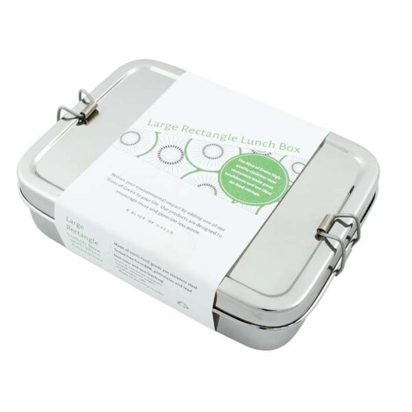 A Slice of Green Large Stainless Steel Lunch Box with Mini Container Inside A Cardboard Sleeve