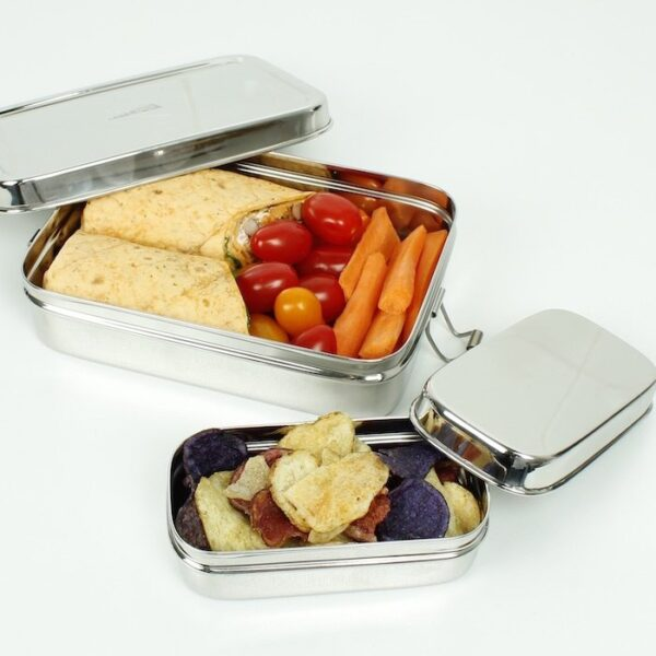 A Slice of Green Large Rectangle Stainless Steel Lunch Box with Mini Container both open with food shown inside