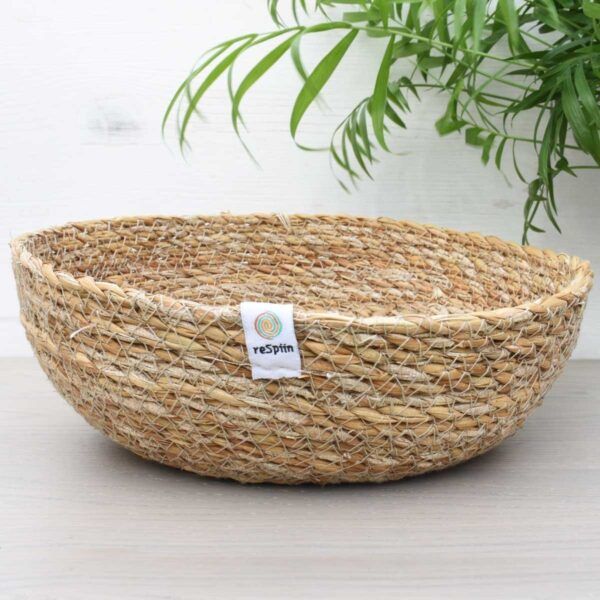 ReSpiin Shallow Medium Natural Seagrass Storage Basket