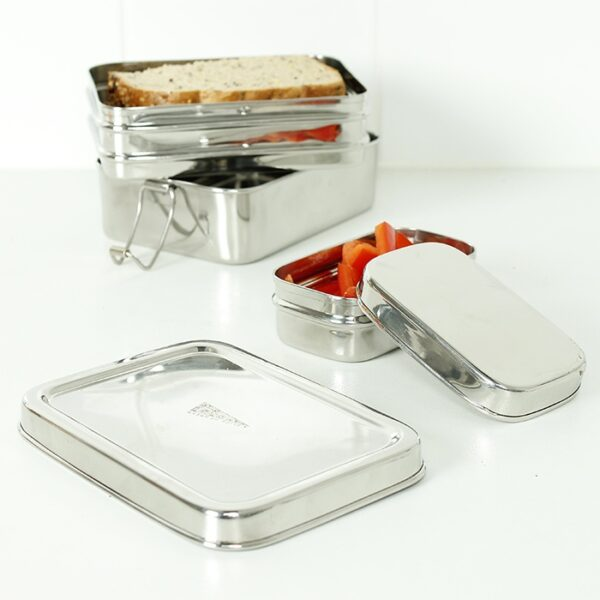 A Slice of Green Two Tier Rectangle Stainless Steel Lunch Box with Mini Container Open & Stacked