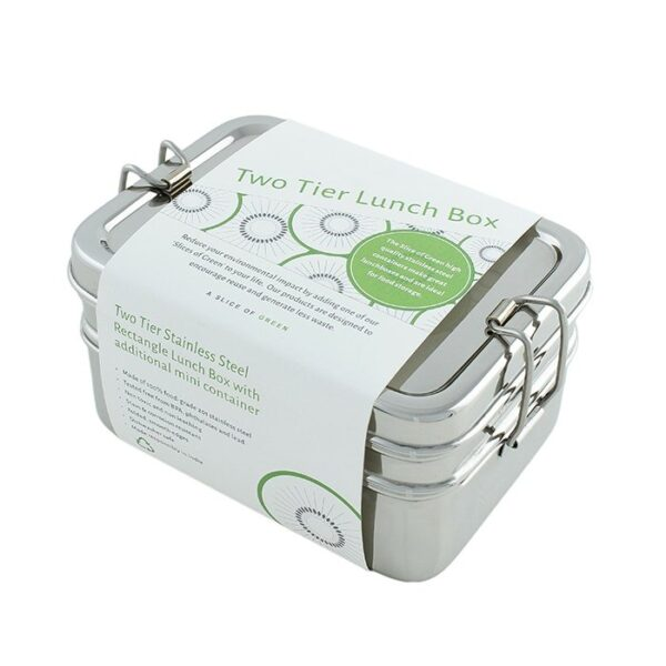A Slice of Green Two Tier Rectangle Stainless Steel Lunch Box with Mini Container In Cardboard Sleeve Packaging