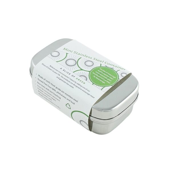A Slice of Green Stainless Steel Mini Food Container In Packaging