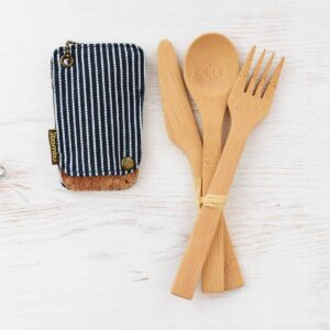 Bambu Bamboo Travel Utensil Set With Cotton Pouch