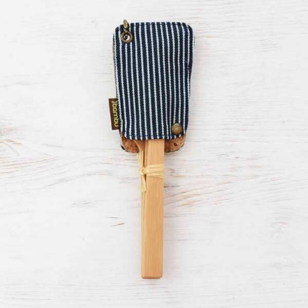 Bambu Bamboo Travel Utensil Set In Cotton Pouch Front
