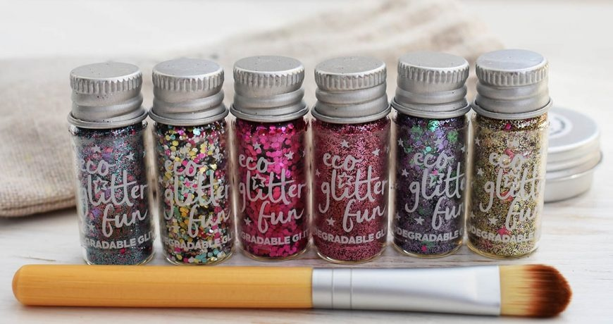 Eco Glitter Fun Pinky Eco Glitter Set With Brush And Bag