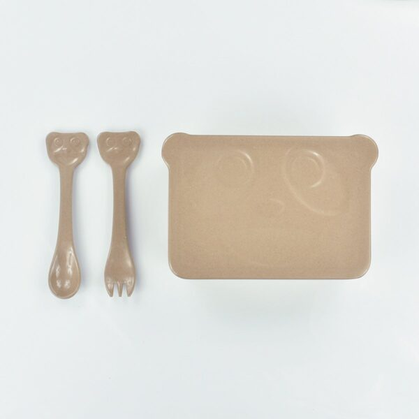 Nature & My Children's Rice Husk Lunch Box With Fork And Spoon
