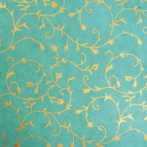 Happy Wrap Handmade Lokta Wrapping Paper Aqua & Gold Print