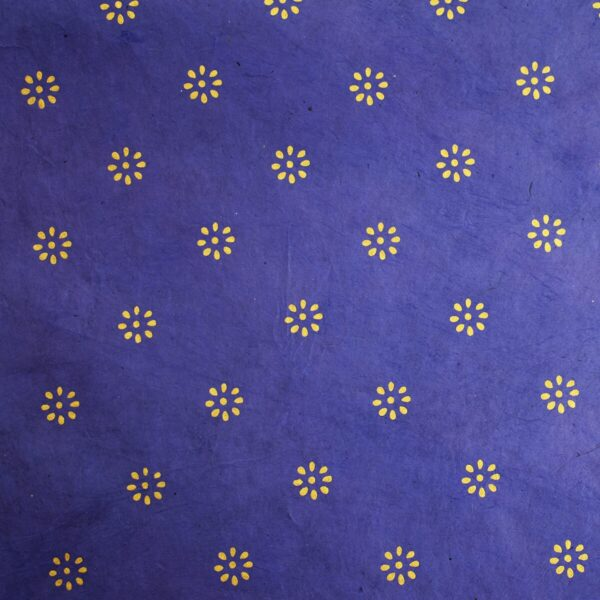 Happy Wrap Handmade Lokta Wrapping Paper Blue & Gold Flower Print