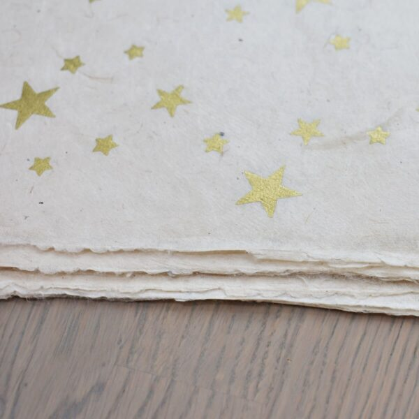 Happy Wrap Handmade Lokta Wrapping Paper Star Print Close Up