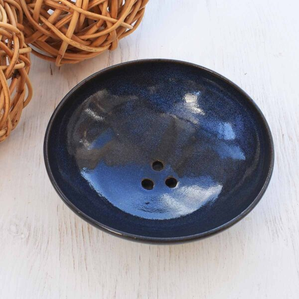 Clod and Pebble Blue Ceramic Soap Dish