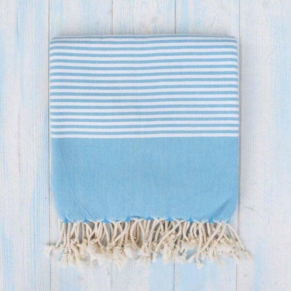 Ebb Flow Cornwall Blue Turkish Towel Quick Dry Hammam Towel