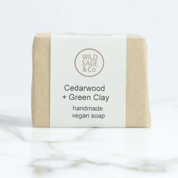 wild sage & co cedar wood and green clay Soap Bar packaging
