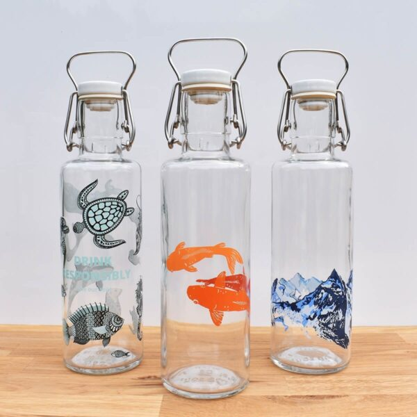 Soul Set Of 3 Glass Water Bottles