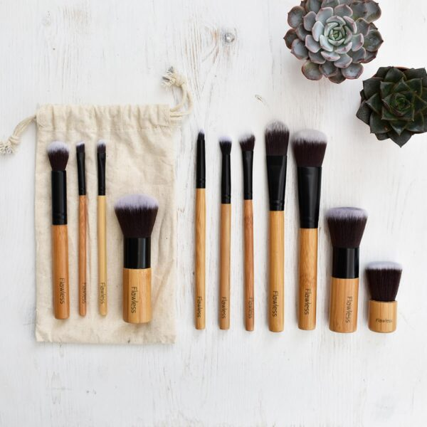 Flawless 10 Piece Bamboo Makeup Brush Set