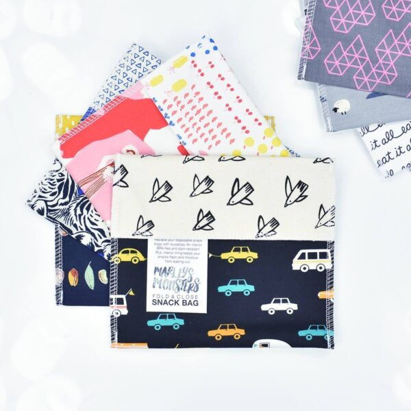 Collection of Marley's Monsters Reusable Cotton Sandwich Bags With Car Prints