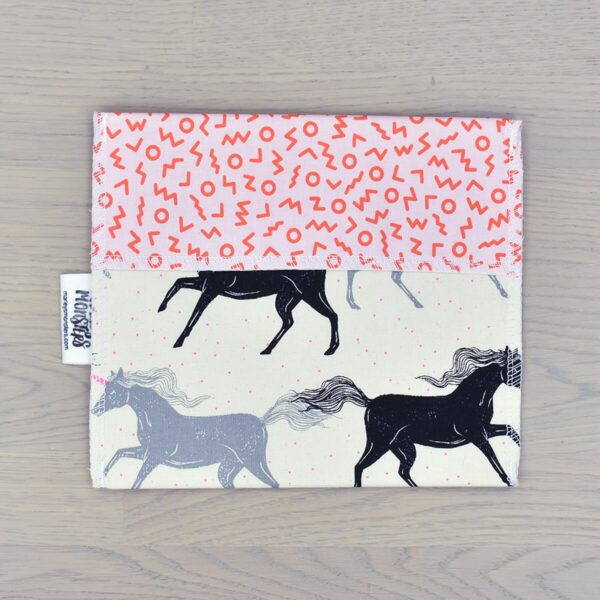 Marley's Monsters Reusable Lined Cotton Sandwich Bag With Horse Print