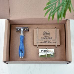 Naked Necessities Ocean Blue Double Edge Safety Razor Gift Set With Shaving Soap And Blades