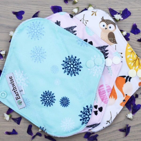 earth wise girls reusable sanitary pads woodland theme multipack small