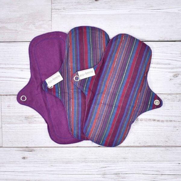 Eco-Femme Cotton Panty Liners ,Vibrant Stripe ,3 Pack, cotton , purple, plastic-free, handmade, Washable,