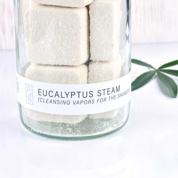 No Tox Life Eucalyptus Shower Steamer Close Up of Jar & Contents
