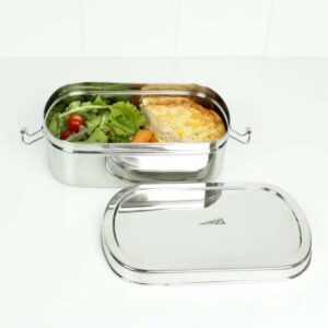 A Slice of Green Extra Large Stainless Steel Oval Lunch Box Open With Food Inside