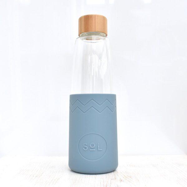 Sol Blue Stone Glass Water Bottle