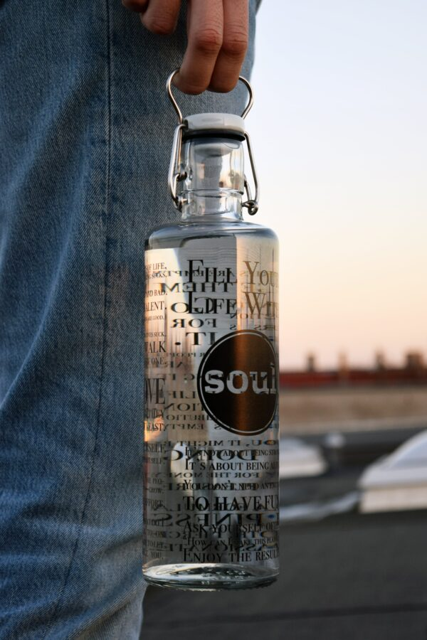 Person Carrying Soul Fill Your Life With Soul Glass Water Bottle