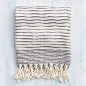 Ebb Flow Cornwall Grey Turkish Towel Chunky Hendra Weave