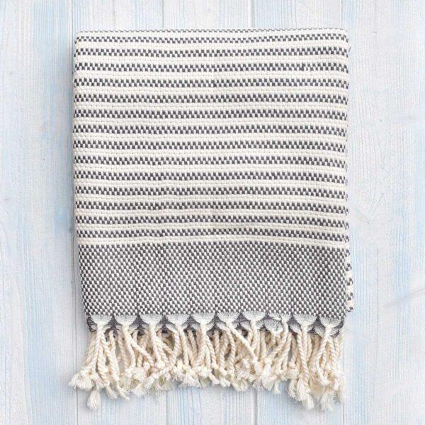 Ebb Flow Cornwall Grey Turkish Towel Chunky Hendra Weave