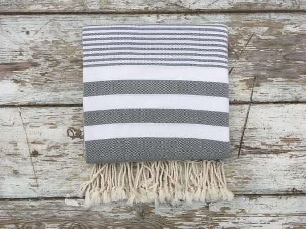 Ebb Flow Cornwall Grey Turkish Towel Quick Dry Chappie Hammam Towel