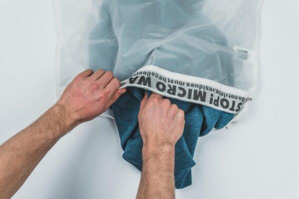 Model Using Guppyfriend Laundry Wash Bag